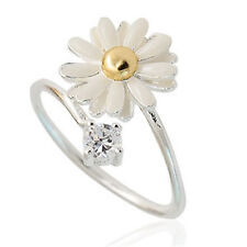 Silver tone daisy and crystal open ring 50s 60s retro