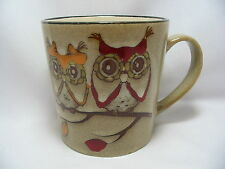 Adorable Owls Coffee Mug Cup 16 oz Stoneware Beige Cute New