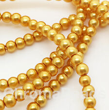 3mm Glass Faux Pearls strand - Mustard Yellow (230+ beads) Rich Gold, craft