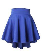 Womens High Waisted Stretch Flared Pleated Mini Skater Skirt Longer Back NEWSK12