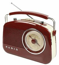 NEW PORTABLE RETRO 1960'S BROWN COLOUR BATTERY & MAINS OPERATED PORTABLE RADIO