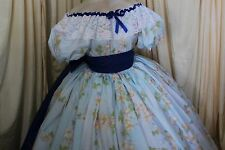 Custom-GONE with the WIND blue floral Reenactment-civil war-COTTON  BALLGOWN