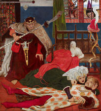Death of Sir Tristram Ford Madox Brown Tod Waffe Adel König Trauer B A3 01783