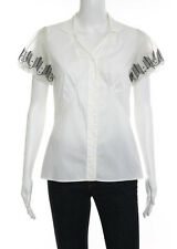 NWT NICOLE MILLER Off White Short Sleeve V Neck Button Down Shirt Blouse Sz S