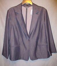 BRIGGS NY womens plus size 24W LW confort stretch DENIM BLAZER jacket EUC #3052