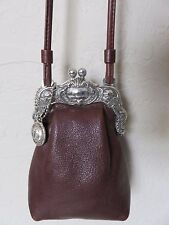 Brighton One World Kiss Lock Cross Body Purse Small Brown Leather Bag