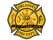 4x4 inch Maltese Cross Shaped ORLANDO FIRE DEPT Sticker -firefighter florida fl