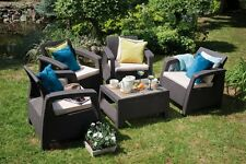 Brown Resin Wicker 5-Piece Patio Chat Set Home Outdoors Furniture Poolside Deck