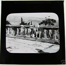 Glass Magic Lantern Slide ATHENS C1900 STONE CARVING - POSSIBLY THE PANTHEON