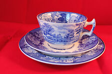 RARE WOOD & SONS WOODS WARE ENGLISH SCENERY TRIO 1917c CUP SAUCER & PLATE
