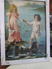 BEAUTIFUL VICTORIAN CHILDREN DATED 1907 NEW YORK WATER LILIES & LAKE WHITE FRAME