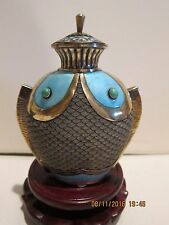 Sterling gilded silver Chinese filigree/ enamel double fish bottle/ turquoise