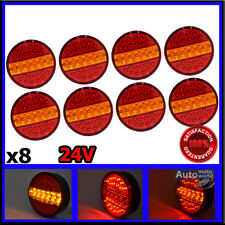 8x 24V 39 LED Round Tail Rear Ligth 3 FCN Lorry Truck Trailer Tractor Camper H03