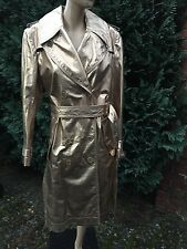 Burberry Mantel Leder GOLD Long Metallic Leather Trench Coat 40 Limited Special