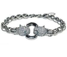 THE LOOK OF REAL PAVE PANTHER CLEAR CZ RHODIUM BRACELET-BRIDAL