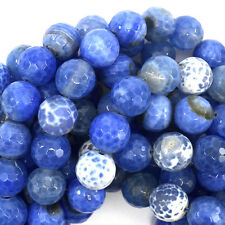"""12mm faceted agate round beads 14"""" strand sky blue"""