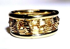 Wide Solid 10K Yellow Gold Cigar Band Ring Size 5 NEW