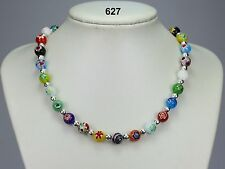 Pretty multi-coloured millefiore glass bead necklace, Tibetan silver spacers 20""