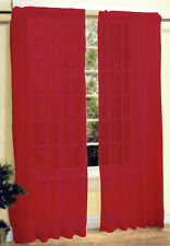 New 2 Pieces Sheer Voile Window Curtain Panel Set Bright Red