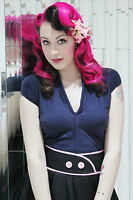 ROCKABILLY Top PIN UP TOP V neck top Navy Blue Retro 50s style PLUS SIZE