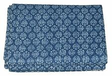 Indian Indigo Blue Hand Block Print Kantha Quilt Cotton Bedspread Twin Size Thro
