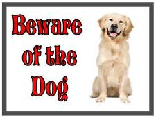 Golden Retriever Beware of the Dog  Design Metal Door Sign