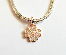 GENUINE 925 Sterling Silver Rose Gold SYMBOL OF LUCK Jewelled Dangle Charm Bead
