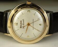 Bulova 10K Gold Filled 10BZAC Selfwinding 30j Automatic Vintage Watch Leather