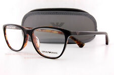 Brand New EMPORIO ARMANI Eyeglass Frames 3075 5049 Black on Havana Women Size 54