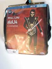 Boy 6 S Black and Gold  Skull Lord Ninja Fighter Halloween Costume Decoration