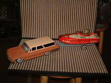 BANDAI TIN, B/O STATION WAGON W/TRAILER & BOAT. 100% ORIGINAL/ALL WORKING!