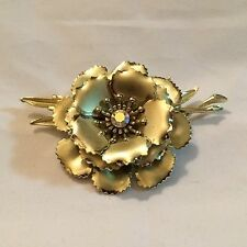 Vintage Large Coro Matte & Shiny Flower Brooch - Signed