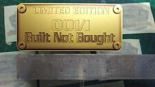 Built Not Bought limited edition 001/1 Metal Effect Decal Sticker modified Gold