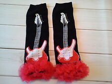baby girl leg warmers infant child guitar rock with red chiffon arm warmers