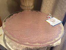 "Pink ""Lace"" Hand Decorated Glass Pedestal Cake/Dessert Stand"