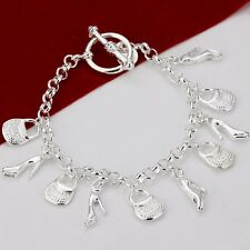 925 STERLING SILVER MULTIPLE BAG AND SHOE CHARM CHAIN BRACELET 20CM UK SELLER
