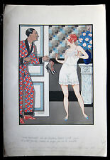 Fernand COUDERC 1920s Art Deco Style Risque WATERCOLOR Drawing  ~ PARIS Latest!