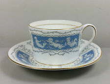 COALPORT REVELRY (BLUE) STRAIGHT SIDED TEA CUP AND SAUCER. (PERFECT)