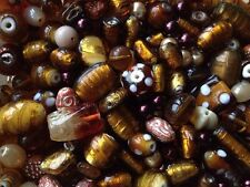 * BEAUTIFUL SHADED MIX OF AMBER & BROWN GLASS BEADS FOR JEWELLERY MAKING - 40g *