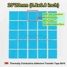 10pcs 20*20mm 3M 8810 Blue Thermal Double Sided Adhesive Heatsink Cooler Pads