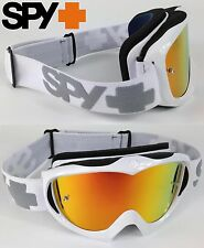 SPY OPTICS TARGA 2 ALLOY MOTOCROSS MX GOGGLES WHITE with FIRE MIRROR LENS NEW