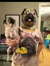 New Halloween Deluxe Pug Mask Dog Lover Pooch Costume Latex Adult Gag Novelty