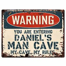 PP2652 WARNING DANIEL'S MAN CAVE Chic Sign Home Store Decor Funny Gift