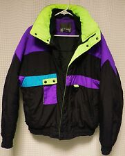 vtg Ski Jacket 80s 90s Mens M winter gear snow coat color block turquoise NEON