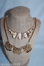 Costume Jewelry LOT OF 2 NECKLACE Dangling Centerpeice CLEAR RHINESTONE GEMS