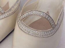 Karen Scott Women's  Pearl White Satin Fabric & Rhinestones Mule Heels  8M