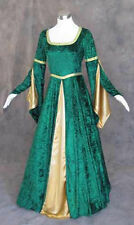 Green Velvet Medieval Renaissance Cosplay Wench LARP Dress Costume Gown L Large
