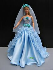 "Barbie Dress up Wedding Gown Party, Blue Costumes Handmade for Dolls 12"" Outfit"