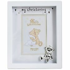 MY CHRISTENING PHOTO FRAME GREAT KEEPSAKE GIFT FOR BABY BOY GIRL SILVER TEDDY