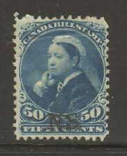 """Nova Scotia #NSB15, 1868 50c Queen Victoria """"N.S."""" Overprint Federal Bill Stamp"""